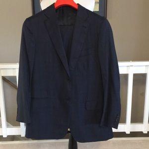 ISAIA Navy wool suit Aquaspider 160s Size 46L EUC